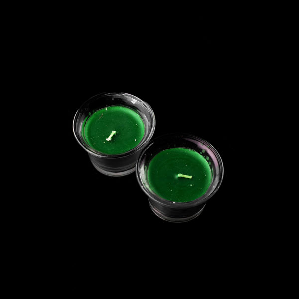 Wiccan Online Shop Green Candle with Glass_1080x1080px