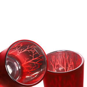 Red Printed Glass Candle Holder - Wiccan Online Shop